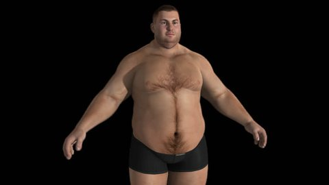 fat man is transformed into an athlete,Alpha Channel