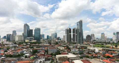 Time lapse, with a panning to the right, of clouds moving above the business district between Kuningan and Sudirman in downtown Jakarta, Indonesia capital city on the Java island.