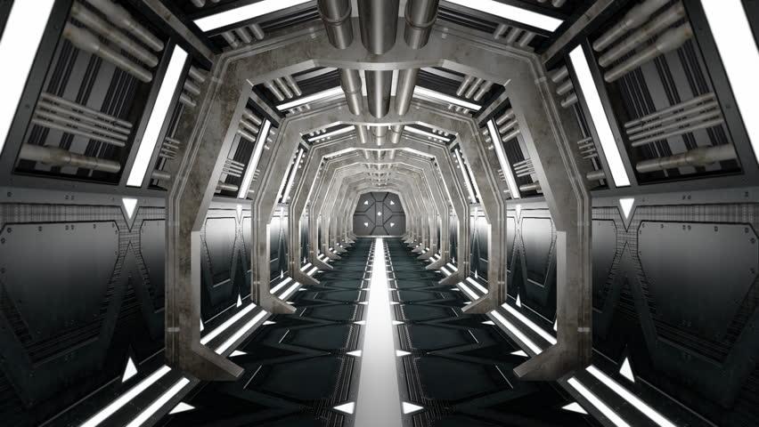 Corridor with opening door and alpha matte.