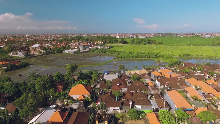 Aerial view of Seminyak area, Bali, moving backwards