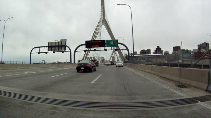 BOSTON, MASSACHUSETTS, USA - CIRCA 2011; Driving over Zakim Bunker Hill Bridge