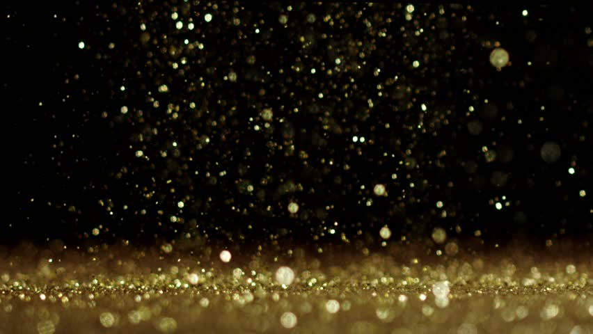 Background Gold Movement. Universe Gold Dust With Stars On ...
