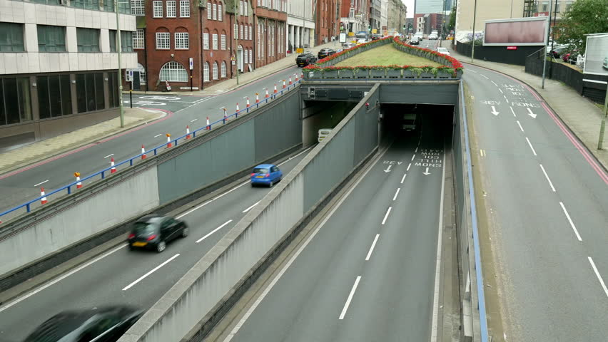 UK inner city traffic underpass. Queensway underpass in Birmingham, England. | Shutterstock HD Video #20300527
