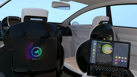 Self-driving SUV interior concept. Front seats with big LCD screen for entertainment or business needs. 3D rendering animation
