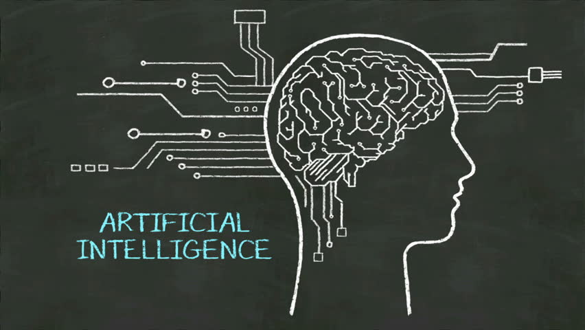 Handwriting Human head shape, connected cpu circuit board. concept of 'Artificial Intelligence' at chalkboard. | Shutterstock HD Video #20305087