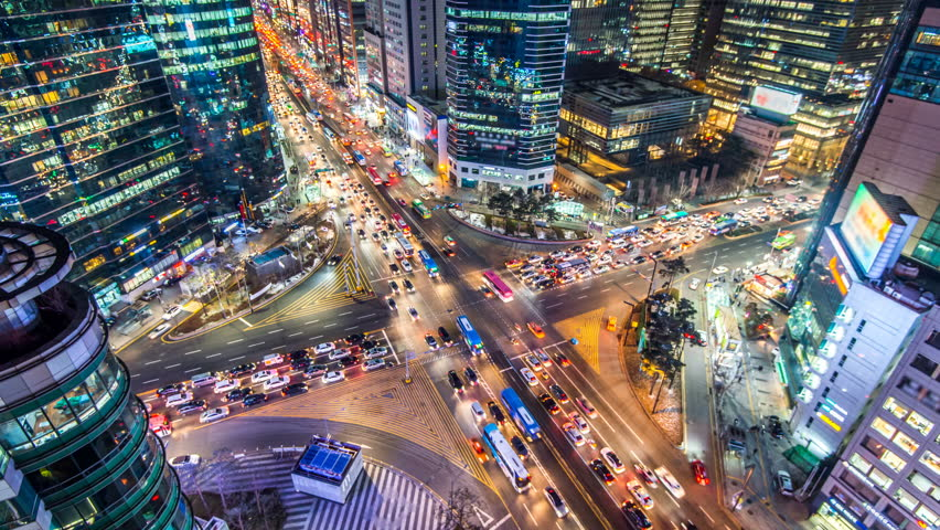 Time lapse traffic at night in Seoul, South Korea.4K | Shutterstock HD Video #20330197