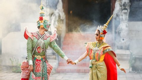 Tosakan (Ravana) and Mandodari , Thai classical mask dance of the Ramayana Epic