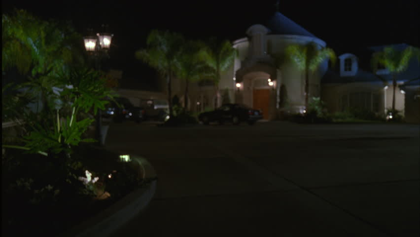 Night Up Driveway Upscale Two Stock Footage Video 100 Royalty Free