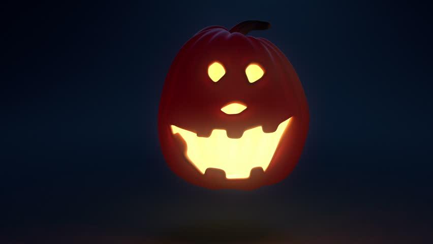 Halloween pumpkins having fun, dances and laughs. Loop