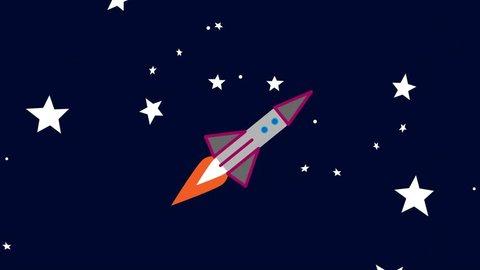 Cartoon Space rocket flies through space