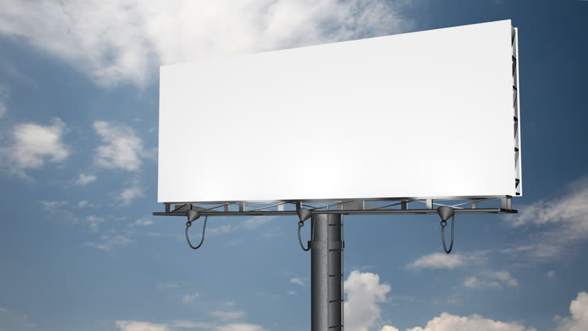 Blank Billboard with Moving Clouds (HD 1080p)