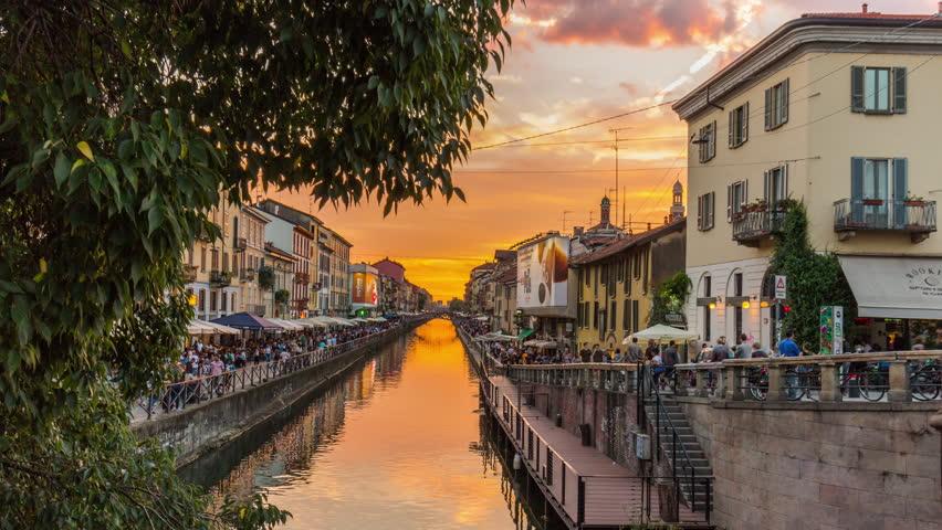 milan sunset ripa di porta ticinese grand canal panorama 4k time lapse italy