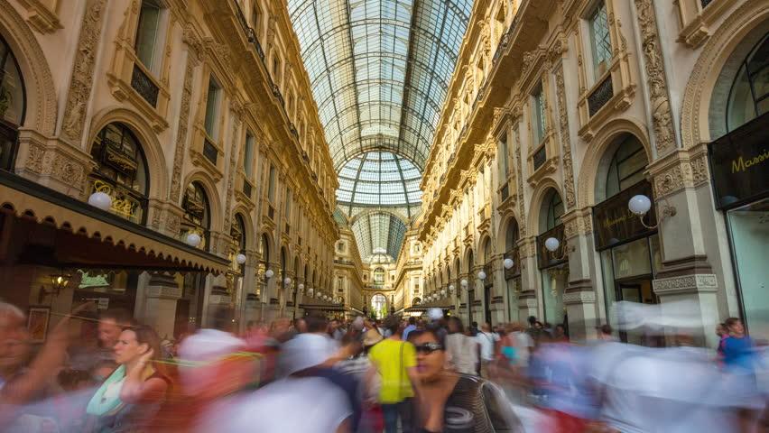 MILAN, ITALY - SEPTEMBER 2016: summer day milan famous galleria vittorio emanuele crowded panorama 4k time lapse circa september 2016 milan, italy.