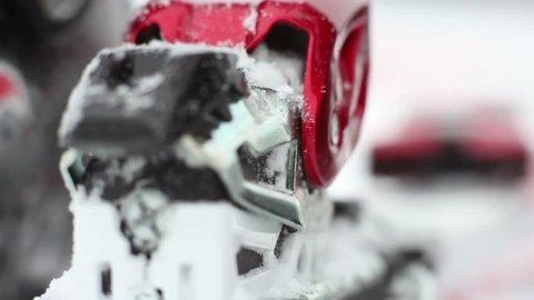Fixing the ski boot. Close up.