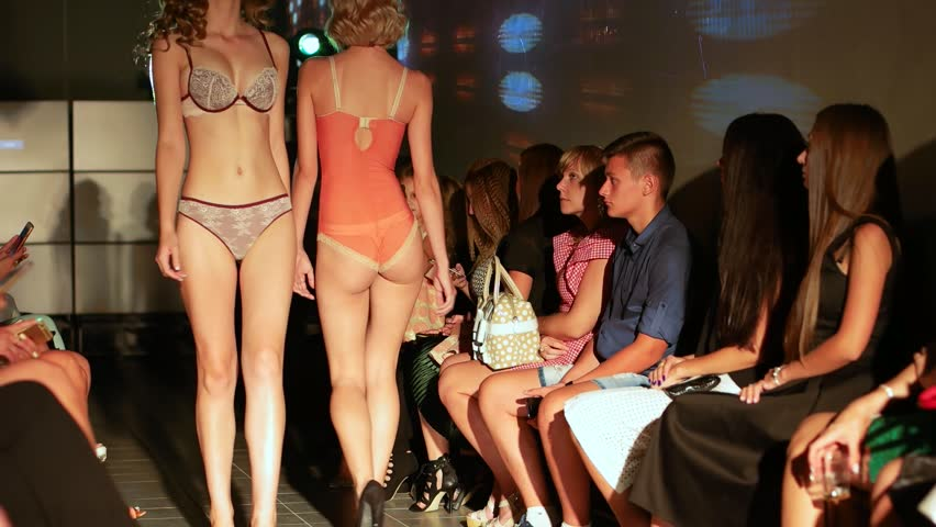 Kherson, Ukraine 09 September 2016: Secret Luxury Night in Fabrika Mall Girls into lingerie walking the catwalk with the audience in Kherson, 09 Sep. 2016. #20396767