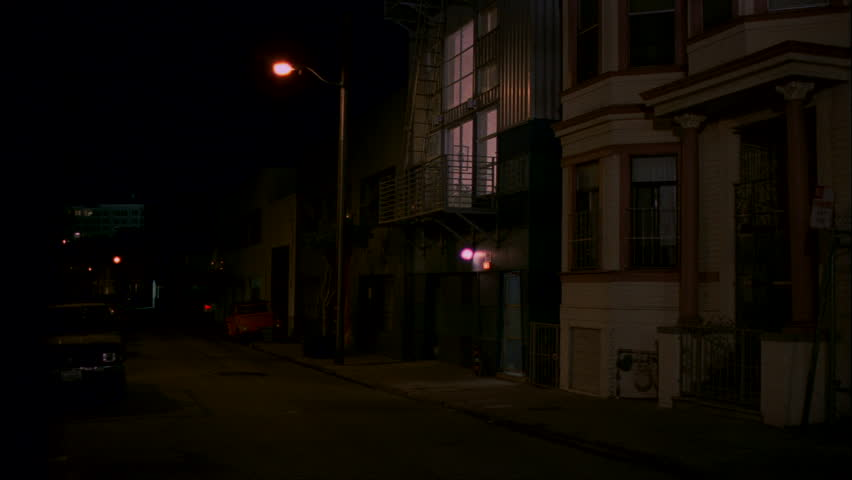 Apartment Building At Night night right narrow city side street up loft apartment building