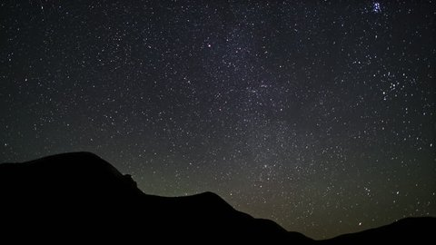 4K Incredible Night Sky Stars Panorama Time-lapse Over hills. ?ovement of the stars