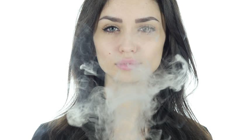 Portrait of Smoking Girl, Smoke of Cigarette, White Background