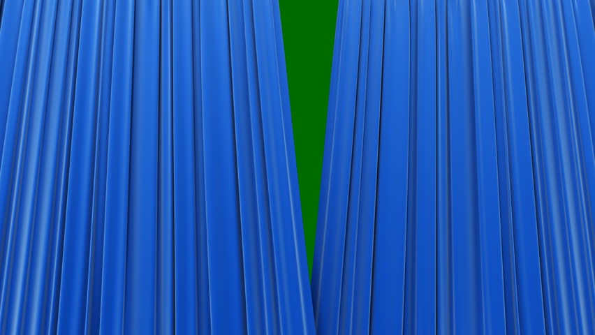 Blue Curtains, Opening and closing 3d animation. HD 1080.