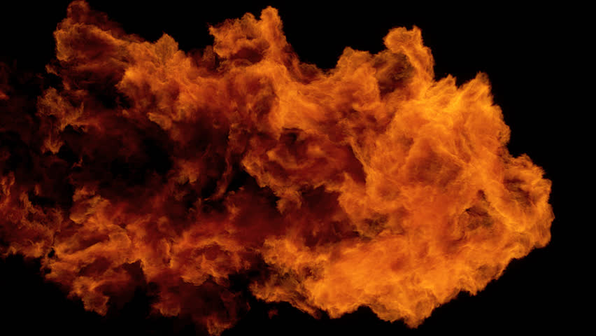 Full screen high speed Fire ball explosion from left to right, slow motion fire flamethrower isolated on black background with alpha channel, perfect for cinema, digital composition, video mapping.