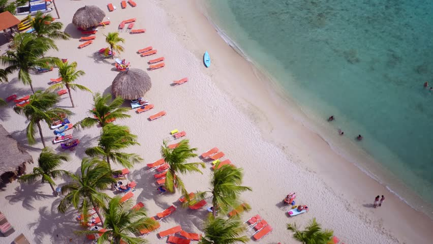 4K aerial of beach at Blue Bay Resort, Curacao   Shutterstock HD Video #20450857