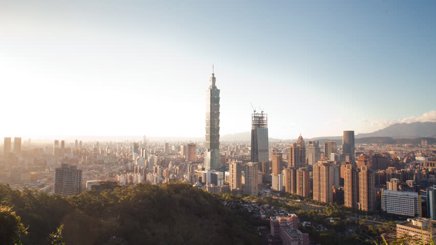 TAIPEI, TAIWAN - October 16, 2015: A beautiful city wide angle shot of