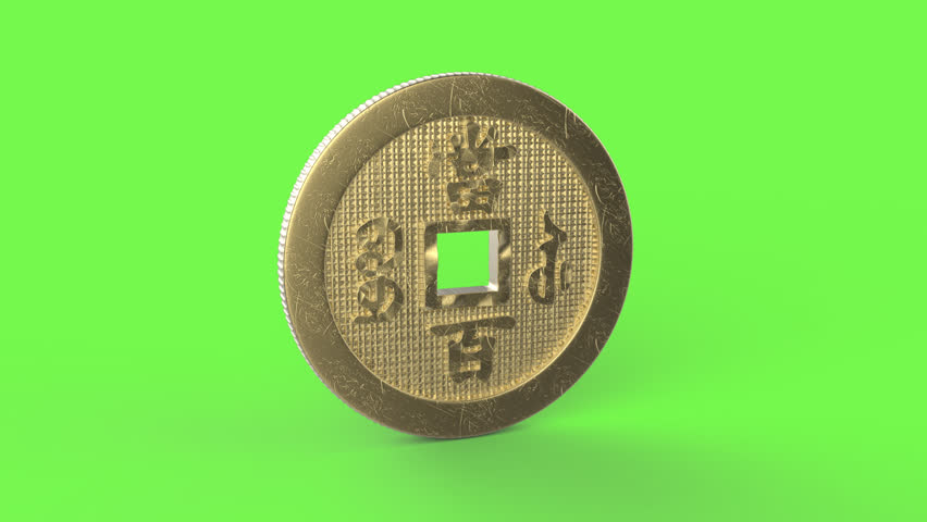 Golden Chinese yuan spinning animation