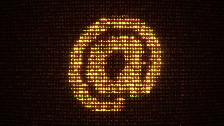 Abstract background with binary code and symbol of computer technologies on display screen. Animation of seamless loop. | Shutterstock HD Video #20488399