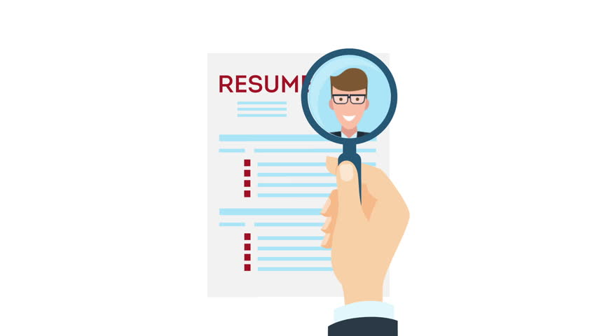 man job interview and recruitment business concept holding resume