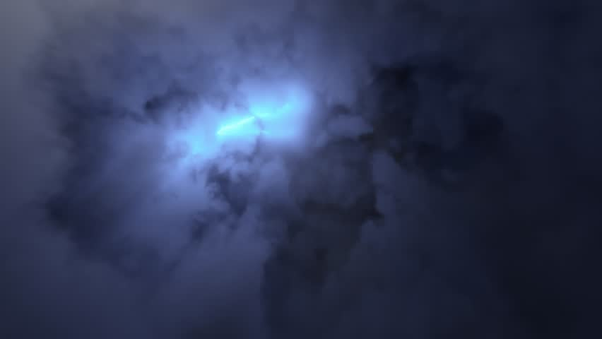 flying trough cloud tunnel lit with storm lightning flashes looped (Hd, 4k seamless loop, 3840 X 2160, ready for compositing) great intro or titles sequence, cinematic animation background