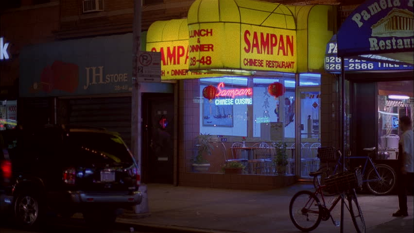 night right sampan chinese restaurant with yellow awning apts above 2 men walk thru hd - Yellow Restaurant 2015