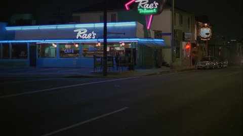 night Static Wide Corner right Raes classic 50s style diner cafe neon