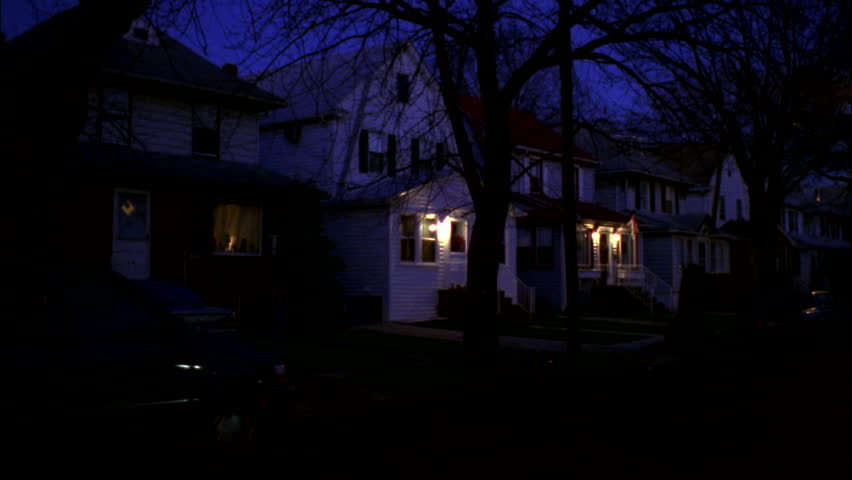 Stock Video Of Night Left Down Residential Neighborhood Street