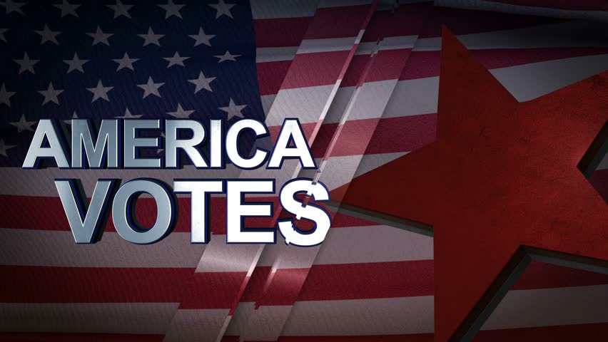 America Votes 3D Motion Graphics With American Flag Background Looping Animation 4K