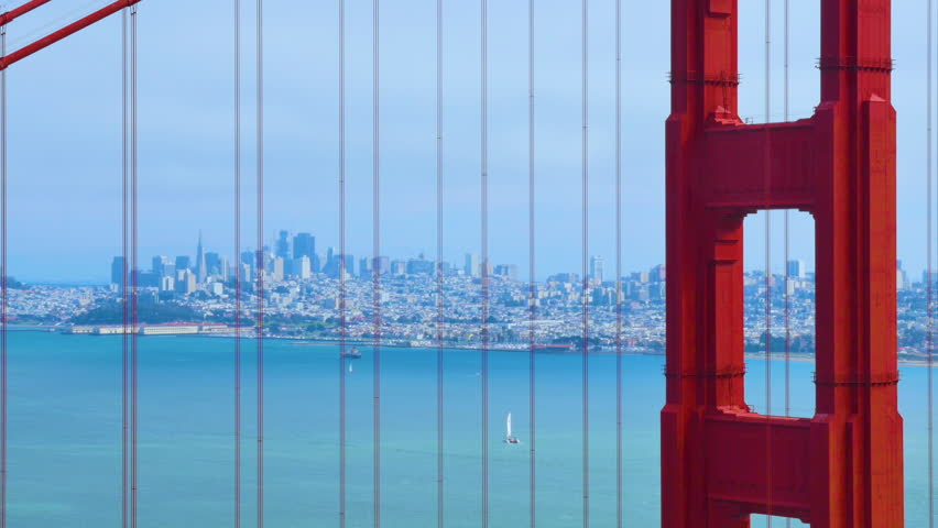 SAN FRANCISCO - Circa October, 2016 - A static establishing shot of the city as seen through the Golden Gate Bridge on a foggy overcast day.  	 | Shutterstock HD Video #20512297