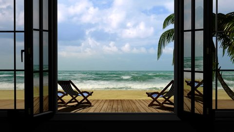 View through a window on the sea, palm trees near the hotel