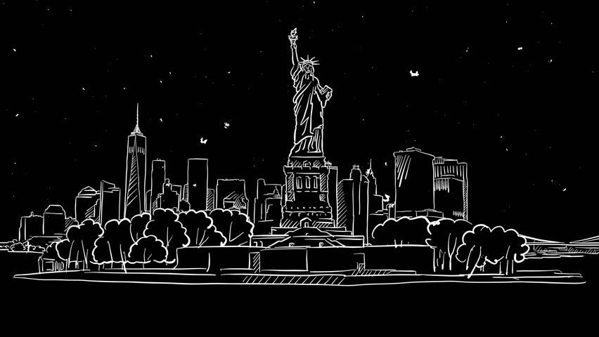 York Skyline In Ink Drawing by Adendorff Design