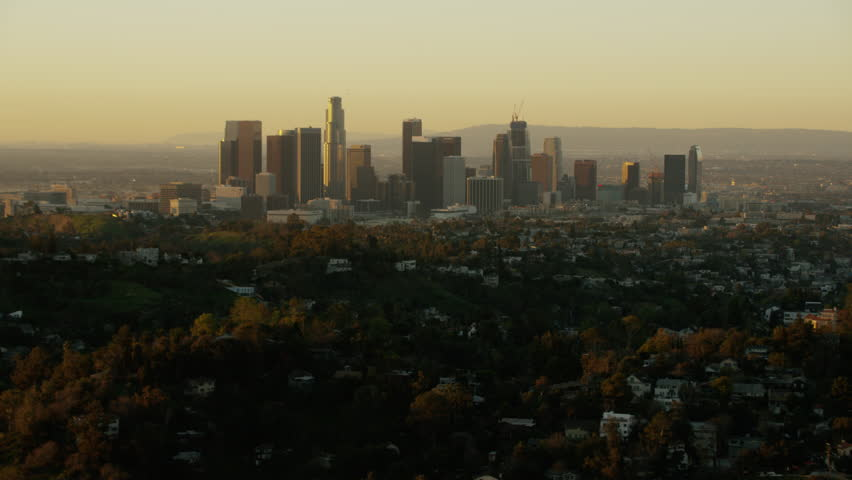 Los Angeles, USA - 2016: Aerial California sunrise Skyscraper Downtown city outdoor Cityscape commuter corporate business building commerce travel tourism vacation | Shutterstock HD Video #20571217