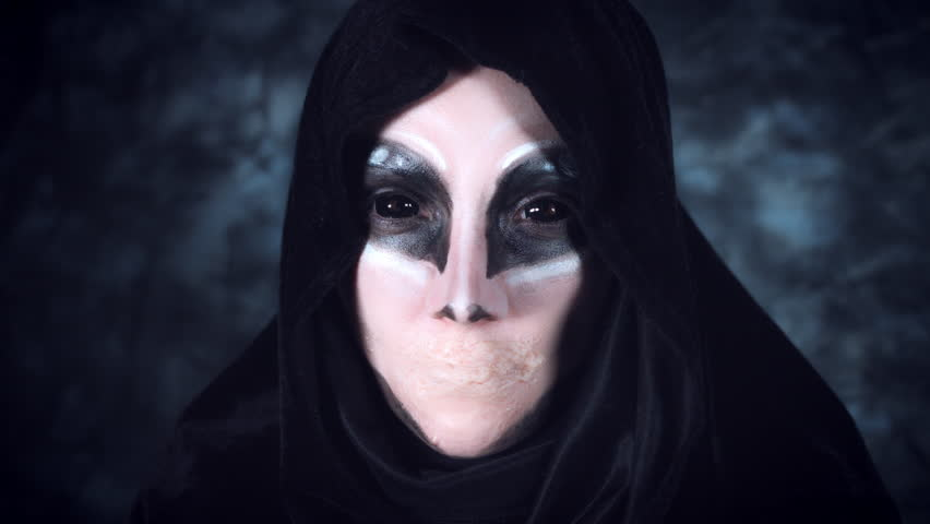 4k Halloween and Horror Woman Alien Acting without Mouth | Shutterstock HD Video #20573275