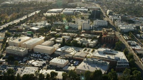 Los Angeles, USA - 2016: Aerial Los Angeles California Walt Disney Film Studios Hollywood city Burbank building Corporate Company entertainment travel tour tourist tourism Picture Landmark Industry