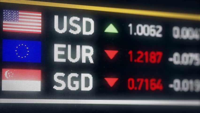 Singapore, US dollar, Euro comparison, currencies falling, financial crisis. World currencies plummet down, financial crisis, stock market crash | Shutterstock HD Video #20582557
