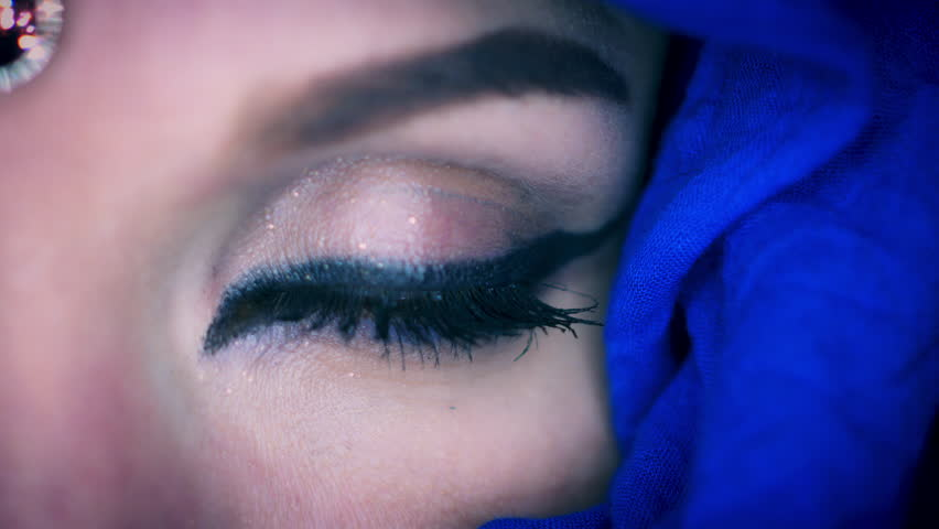 4k Colourful Arabic Woman Opening Eye Close-up with Veil | Shutterstock HD Video #20590006