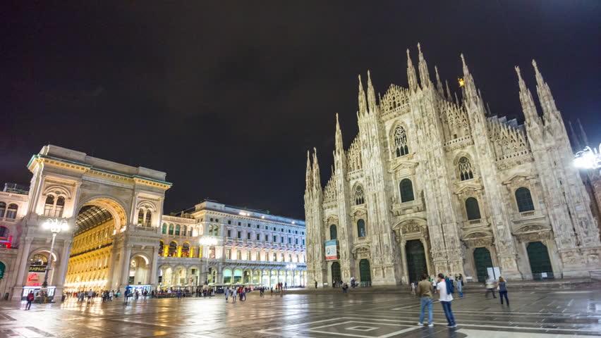 MILAN, ITALY - SEPTEMBER 2016: night galleria vittorio emanuele duomo square walking panorama 4k time lapse circa september 2016 milan, italy.