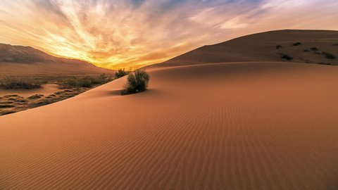 Sunrise in the Singing Sand Dunes in Altyn Emel. 4K TimeLapse - September 2016, Almaty and Astana, Kazakhstan