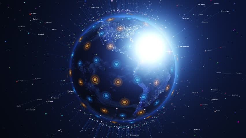Shiny digital blue earth orbiting slowly. Technology and global network concept. | Shutterstock HD Video #20626087