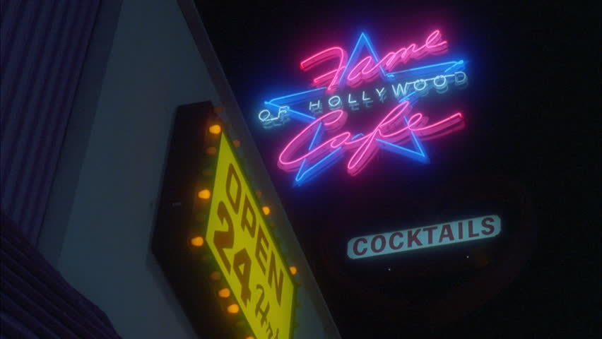 Night Shaky Up angle Neon Fame Cafe Hollywood, Open 24 Hrs. Cocktails signs | Shutterstock HD Video #20646697
