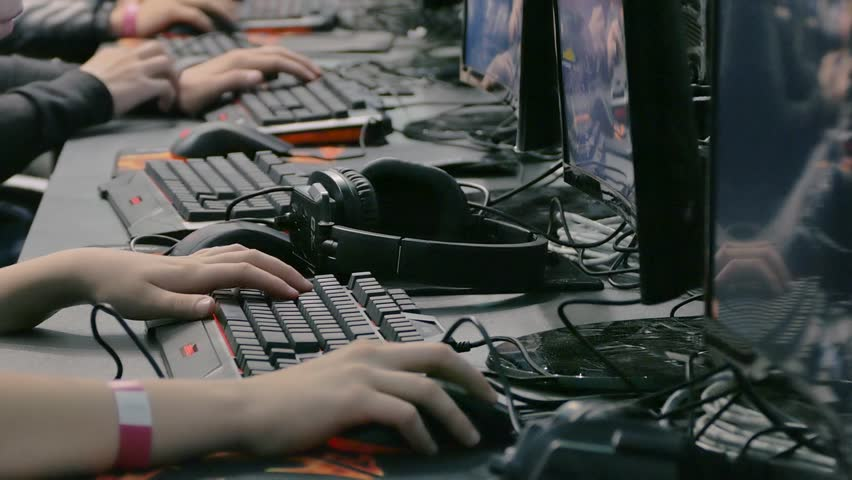 Gamers will compete in the championship of computer games. Hands close-up