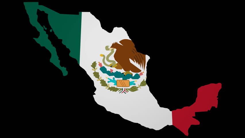 Mexico Map With Rippling Flag Stock Footage Video 100 Royalty Free