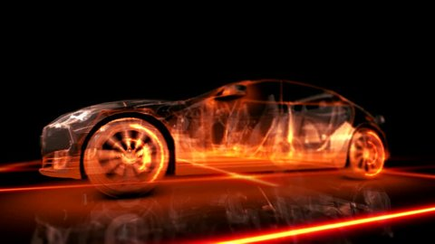 Abstract animation 3d fiery appearance of the car