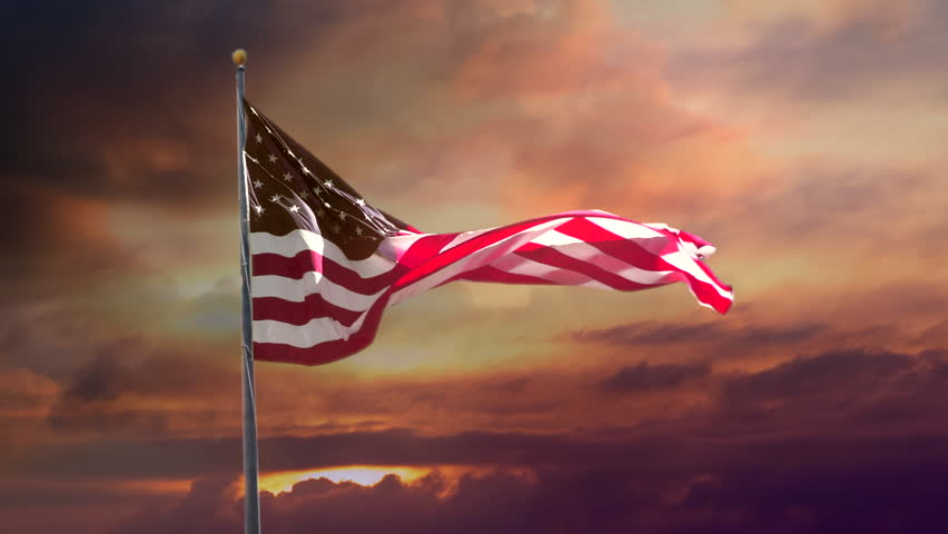 American Flag in Slow Motion. Celebrate USA and 4th of July with video if flag waving wind. Great for History, corporate projects.